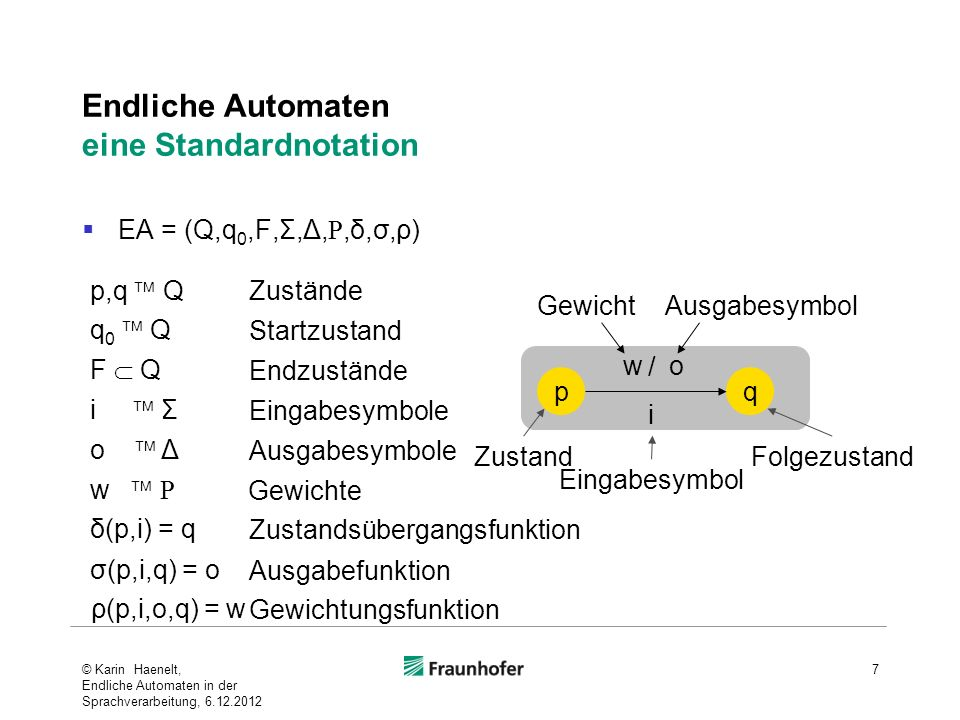 Endliche Automaten eine Standardnotation
