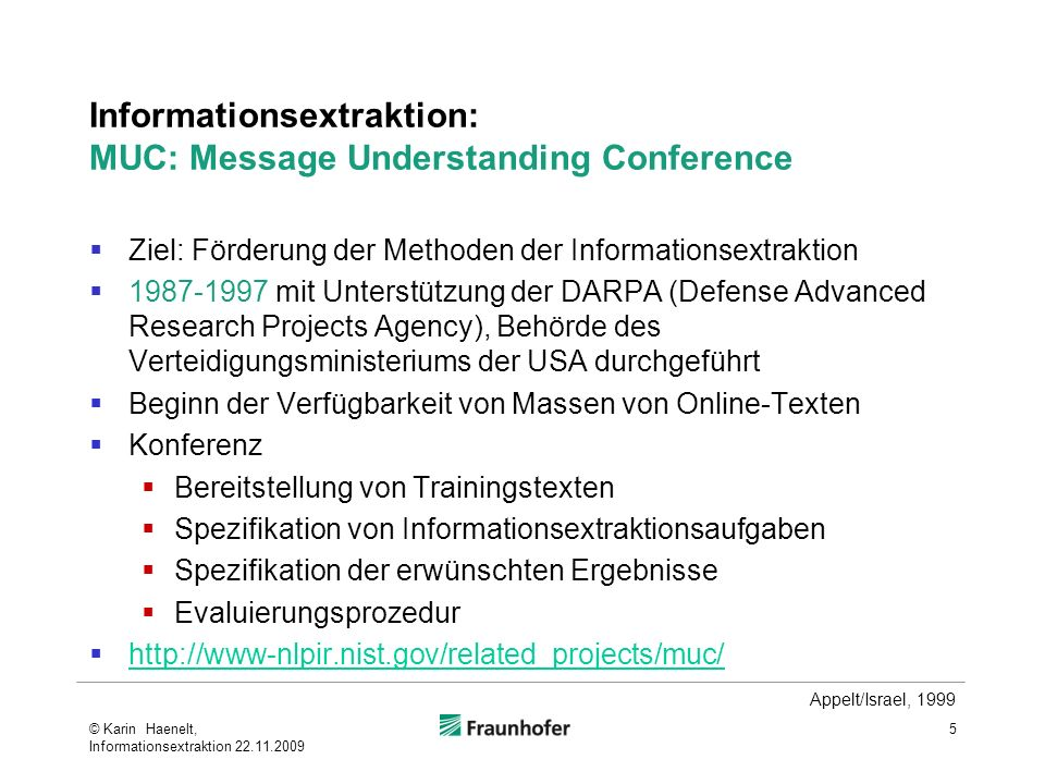 Informationsextraktion: MUC: Message Understanding Conference