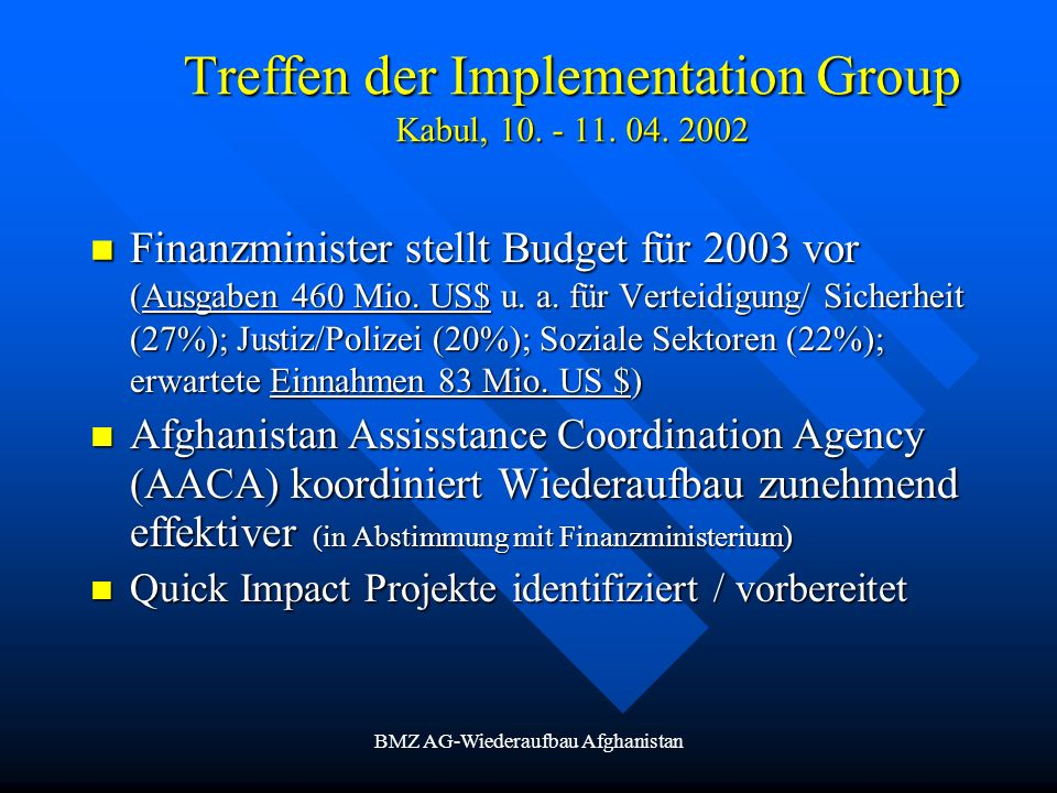 Treffen der Implementation Group Kabul,