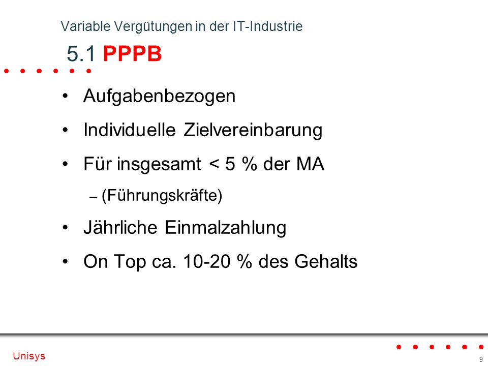 Variable Vergütungen in der IT-Industrie 5.1 PPPB