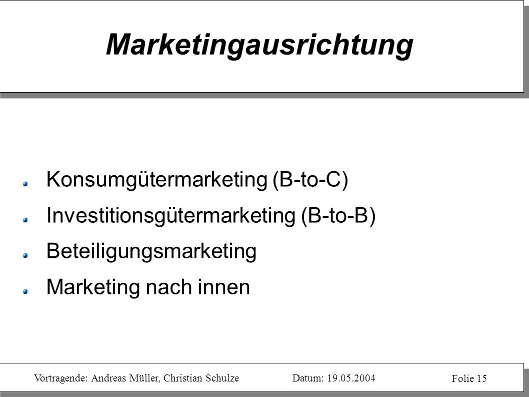 Marketingausrichtung