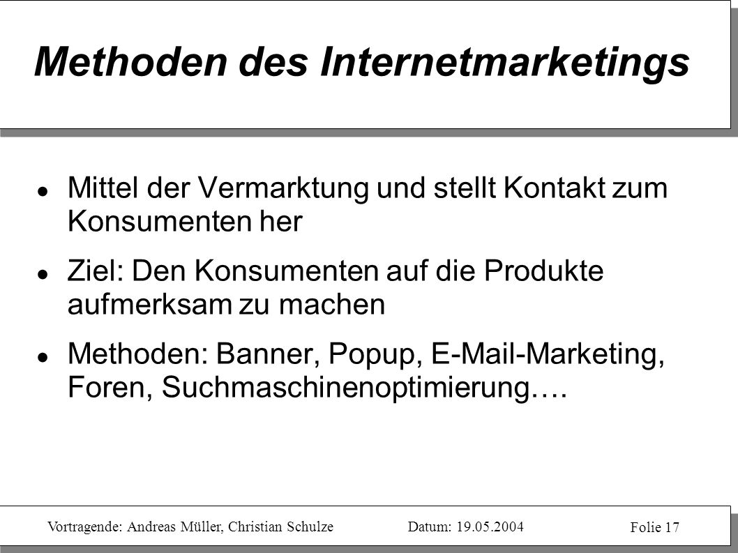 Methoden des Internetmarketings