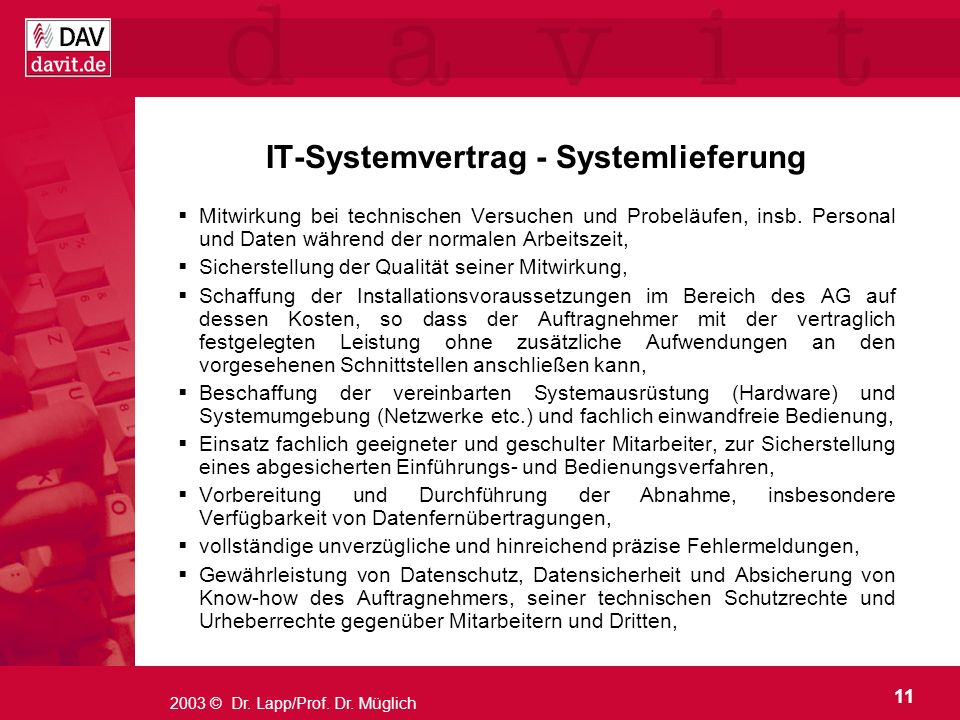 IT-Systemvertrag - Systemlieferung