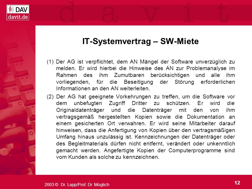 IT-Systemvertrag – SW-Miete