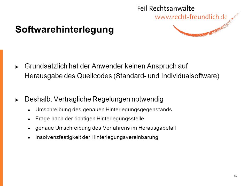 Softwarehinterlegung