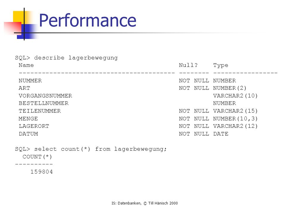 Performance SQL> describe lagerbewegung Name Null Type