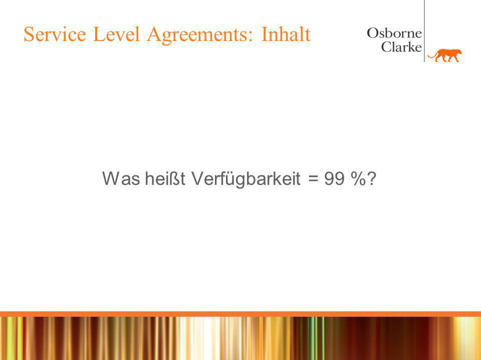 Service Level Agreements: Inhalt
