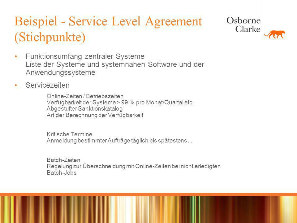 Beispiel - Service Level Agreement (Stichpunkte)