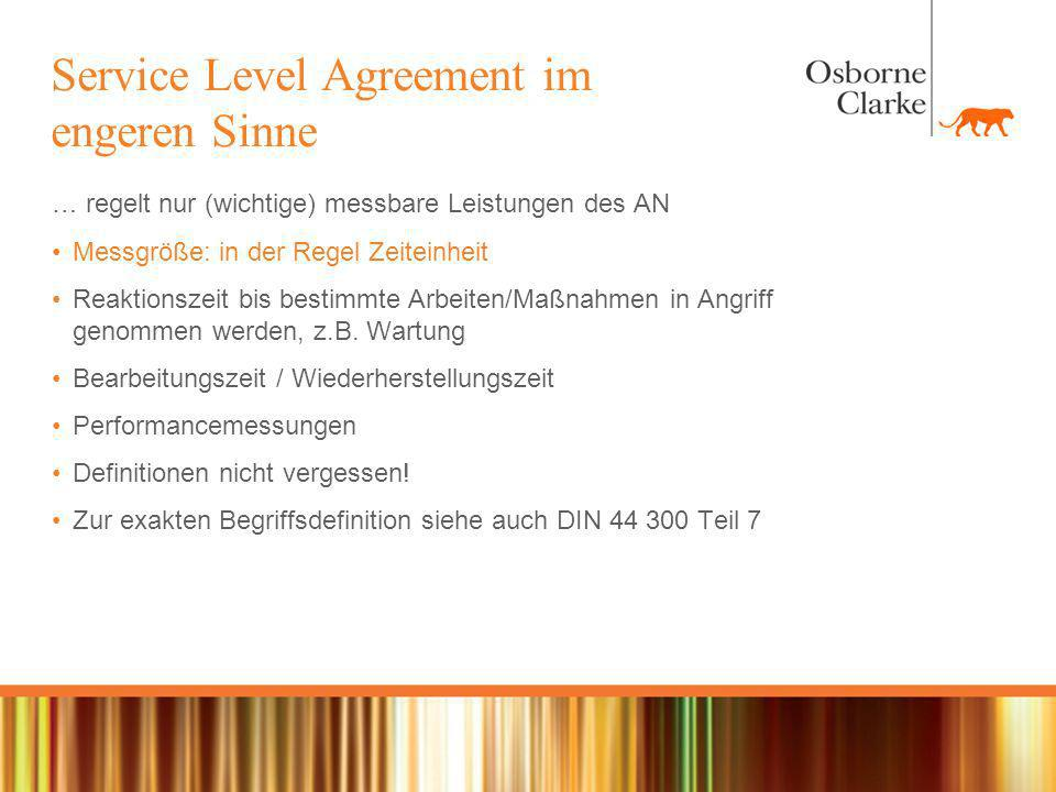 Service Level Agreement im engeren Sinne