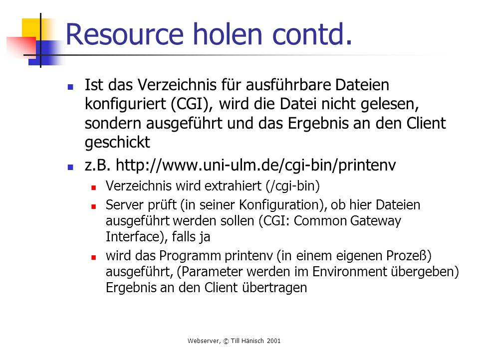 Resource holen contd.