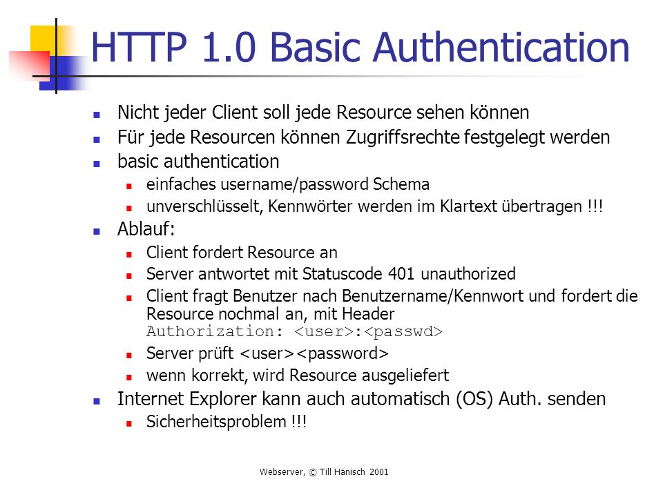 HTTP 1.0 Basic Authentication