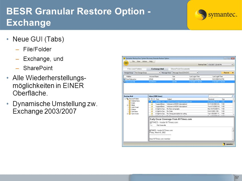 BESR Granular Restore Option - Exchange
