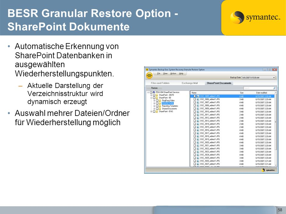BESR Granular Restore Option -SharePoint Dokumente