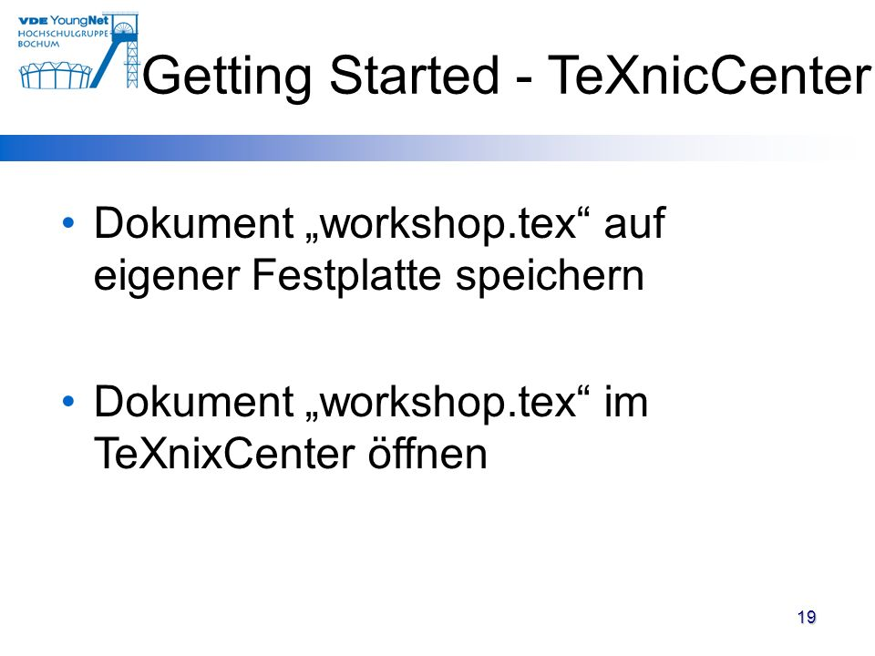 Getting Started - TeXnicCenter