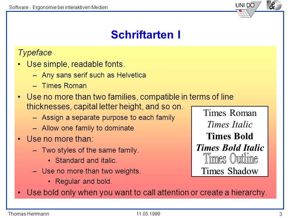 Schriftarten I Times Roman Times Italic Times Bold Times Bold Italic