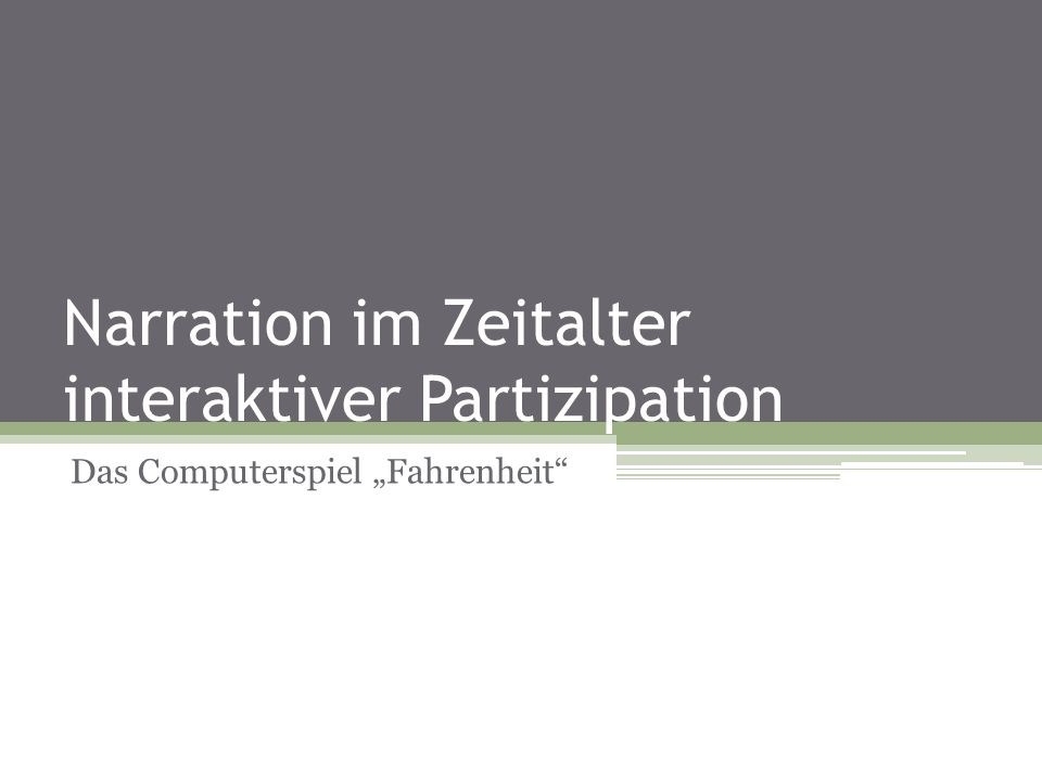 Narration im Zeitalter interaktiver Partizipation