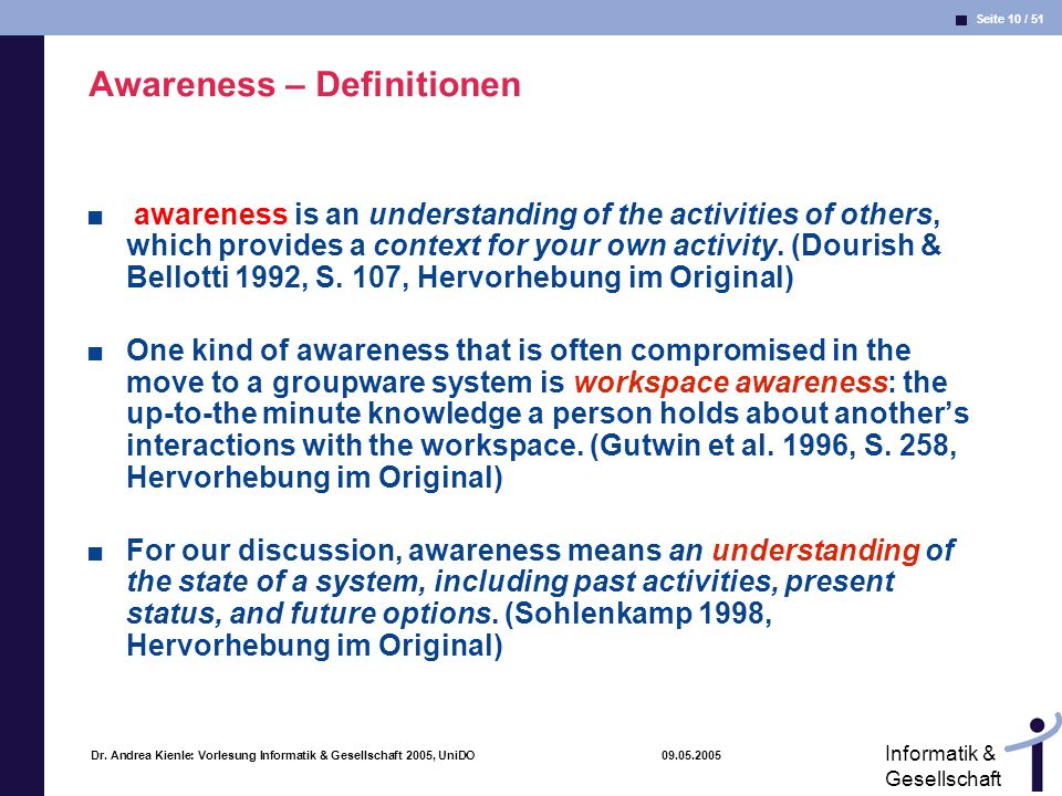 Awareness – Definitionen