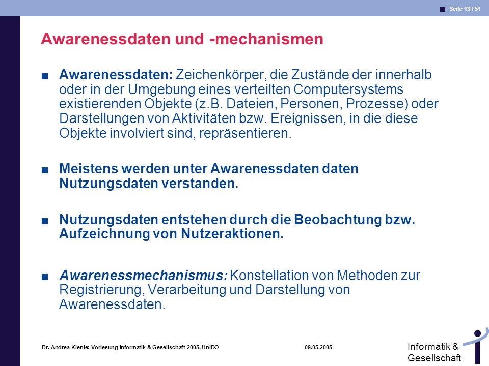 Awarenessdaten und -mechanismen