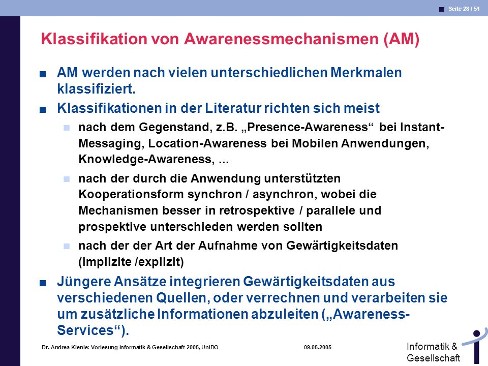 Klassifikation von Awarenessmechanismen (AM)