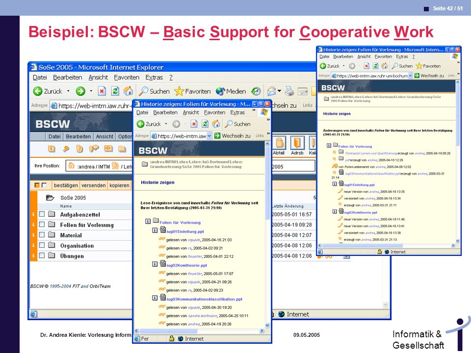 Beispiel: BSCW – Basic Support for Cooperative Work