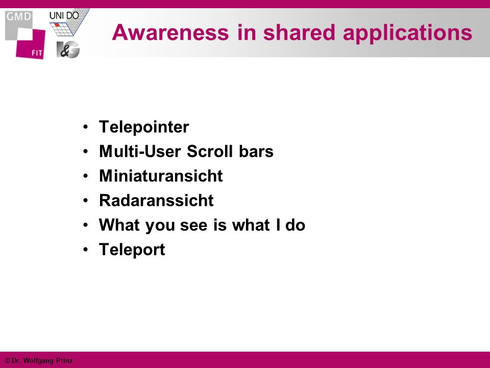 Awareness in shared applications