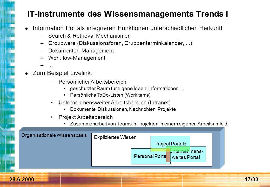 IT-Instrumente des Wissensmanagements Trends I
