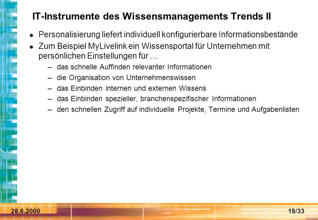 IT-Instrumente des Wissensmanagements Trends II