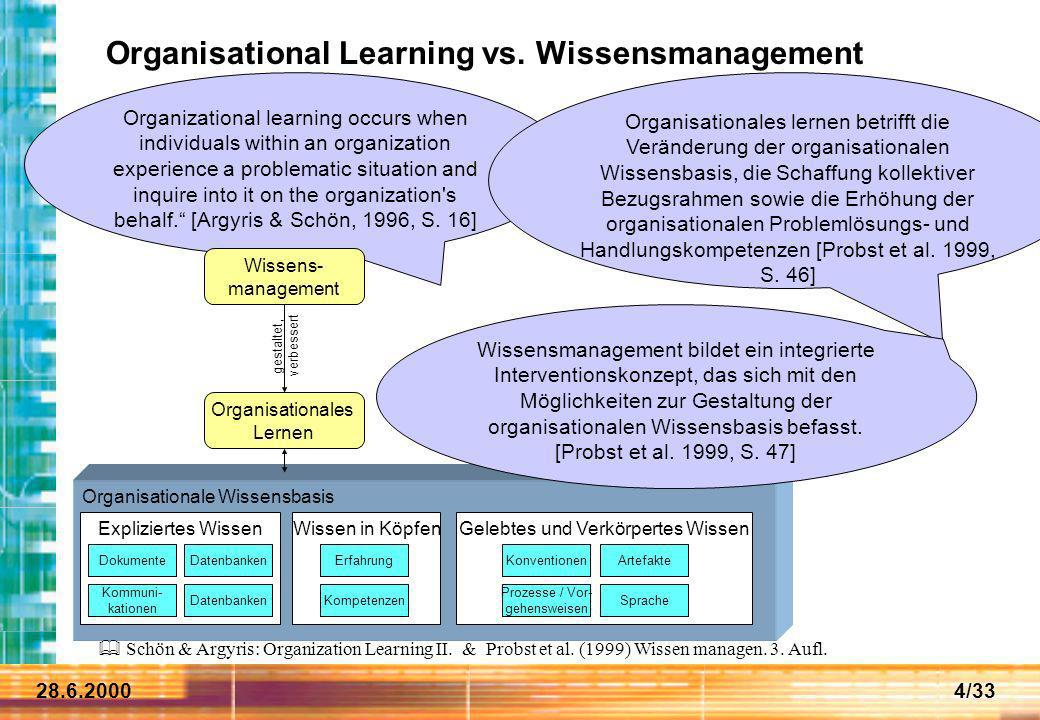 Organisational Learning vs. Wissensmanagement