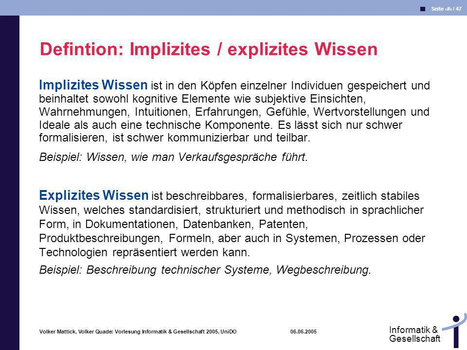 Defintion: Implizites / explizites Wissen