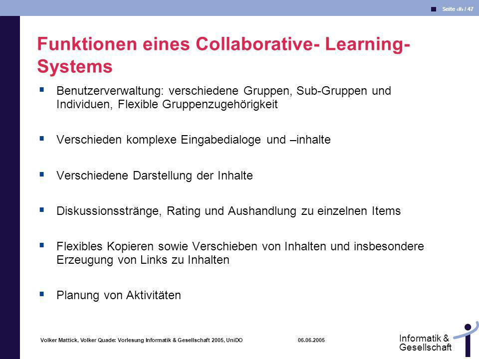 Funktionen eines Collaborative- Learning-Systems