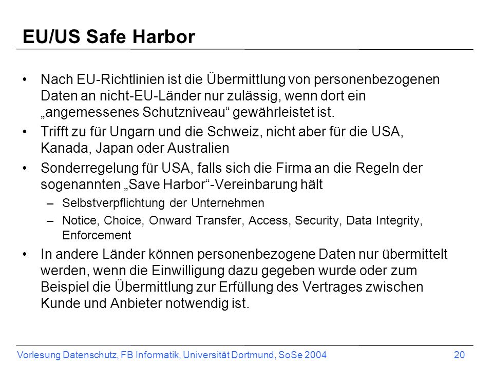 EU/US Safe Harbor