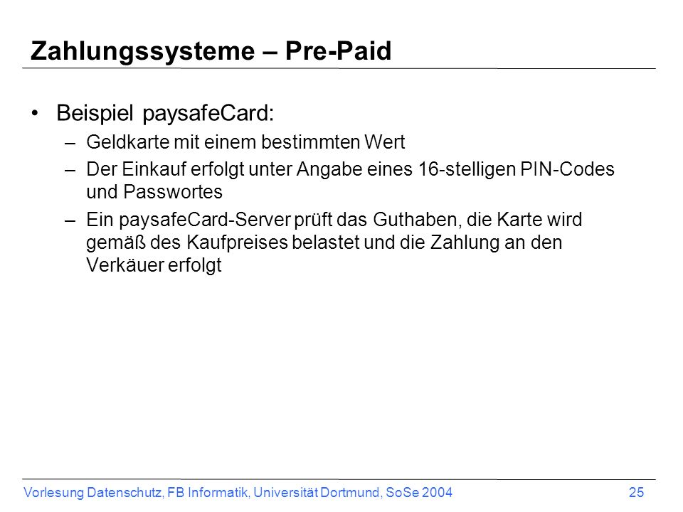Zahlungssysteme – Pre-Paid