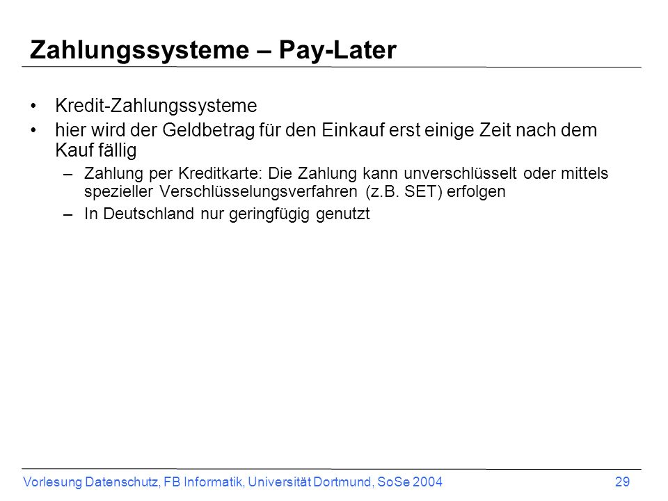 Zahlungssysteme – Pay-Later