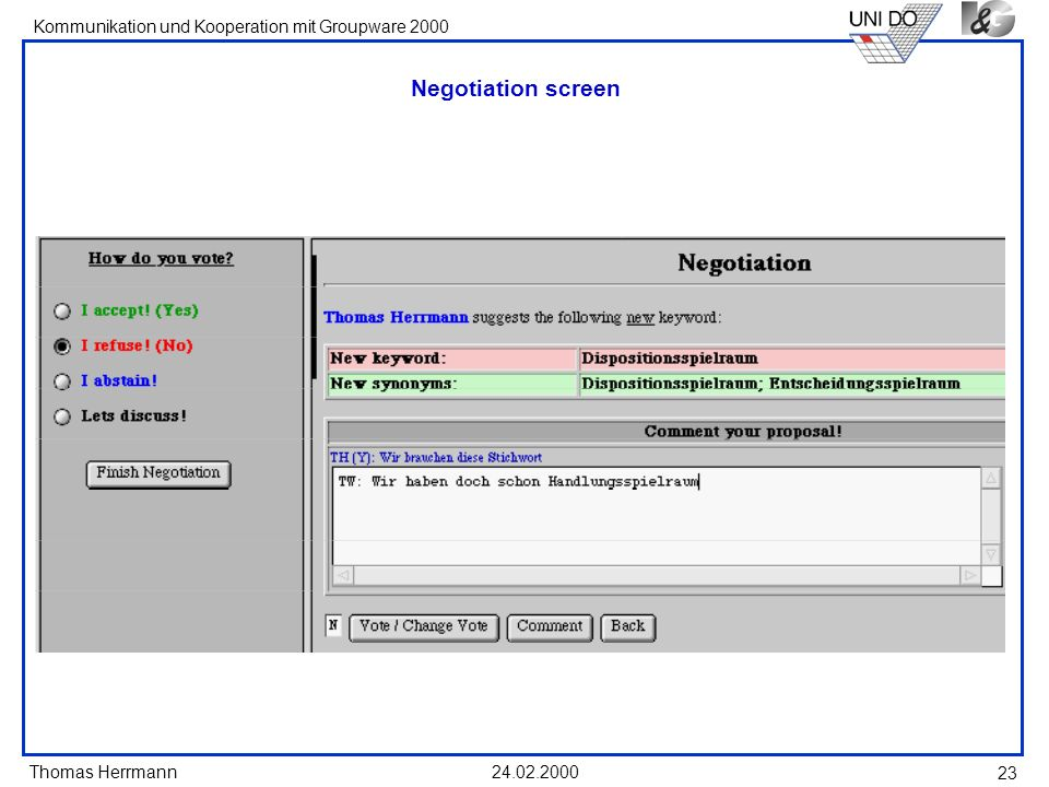 Negotiation screen