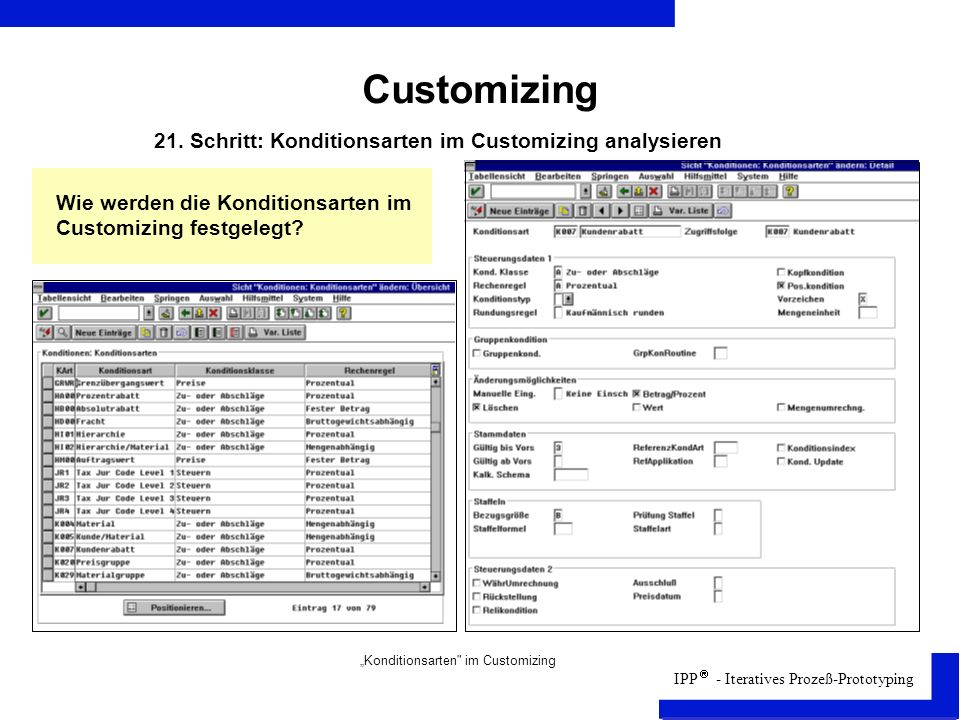 Customizing 21. Schritt: Konditionsarten im Customizing analysieren