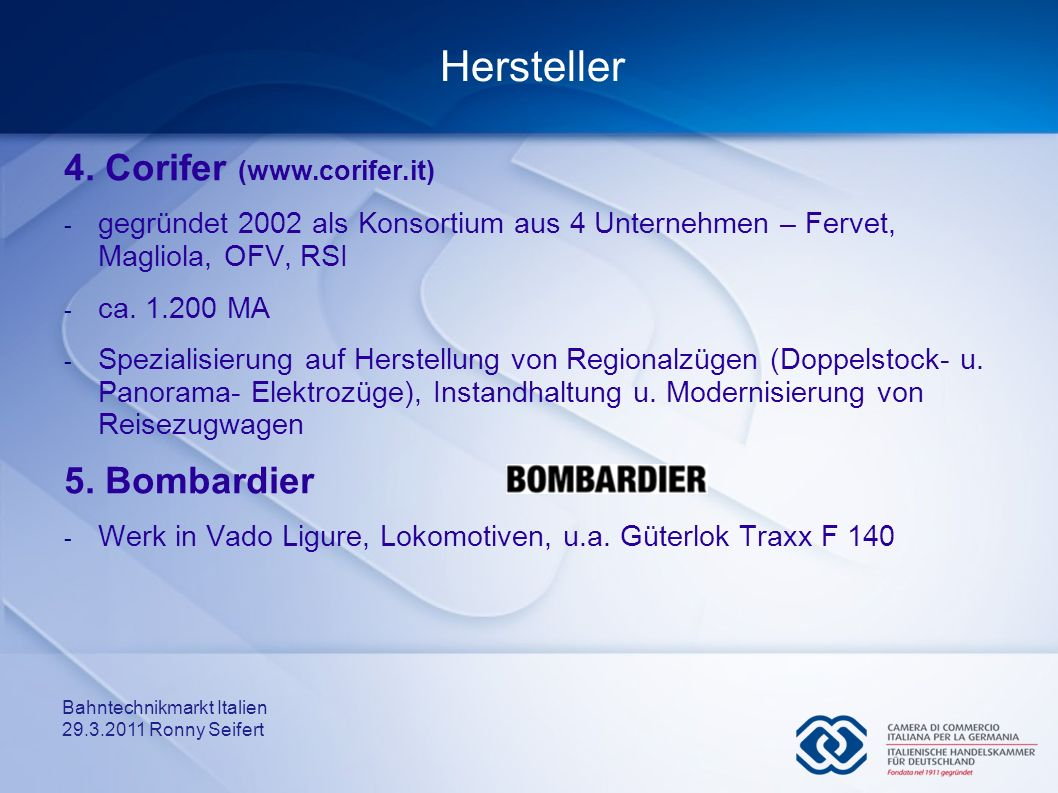 Hersteller 4. Corifer (www.corifer.it) 5. Bombardier