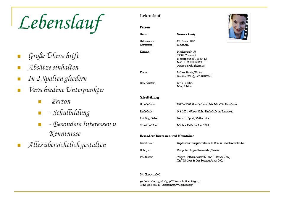 Richtig Bewerben Bewerbungsschreiben Lebenslauf Bewerbungsfoto - ppt ...