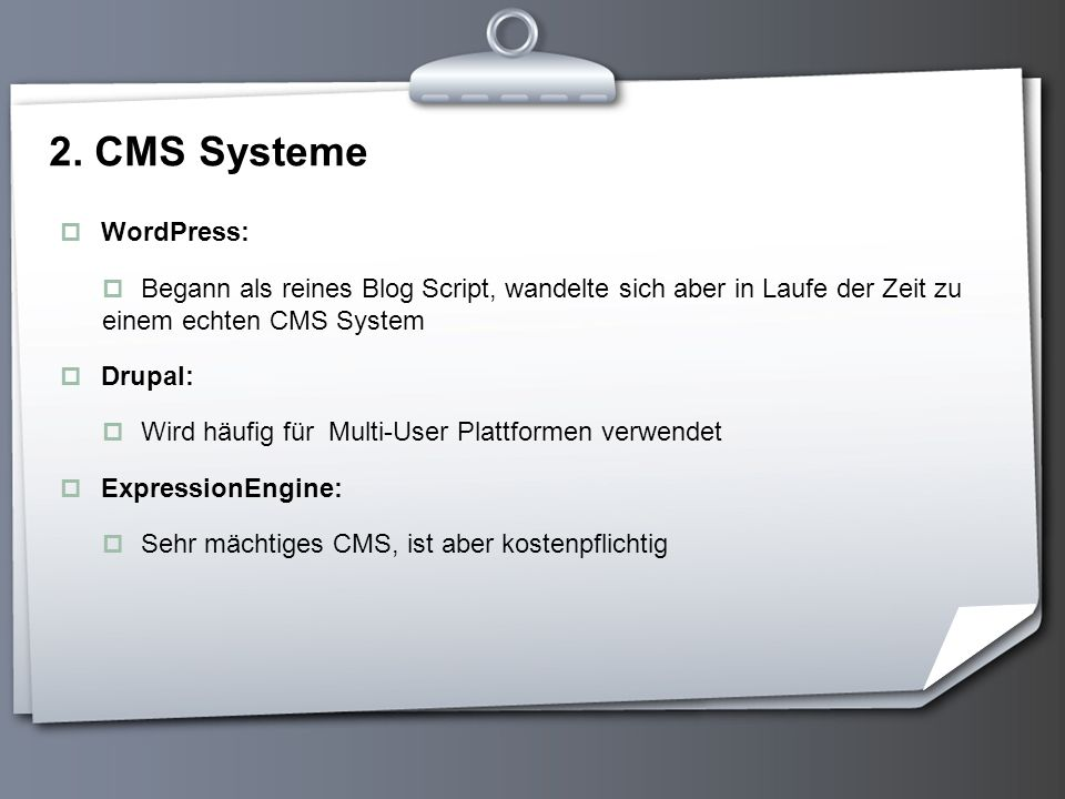 2. CMS Systeme WordPress: