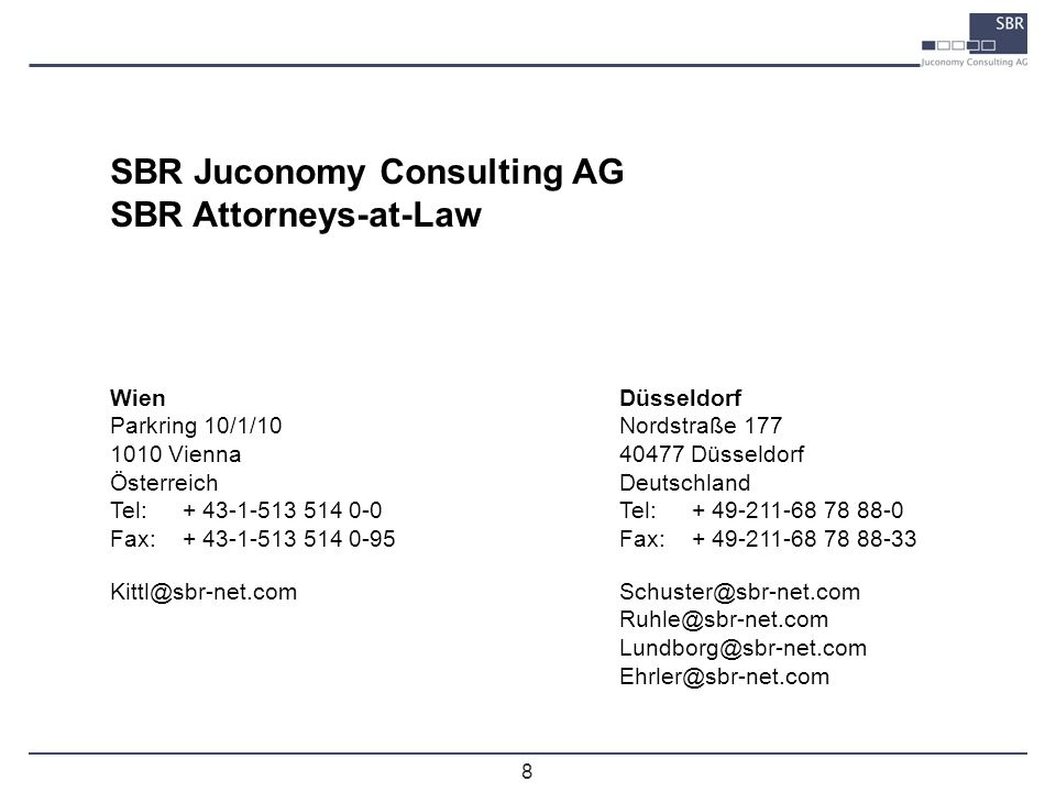 SBR Juconomy Consulting AG SBR Attorneys-at-Law