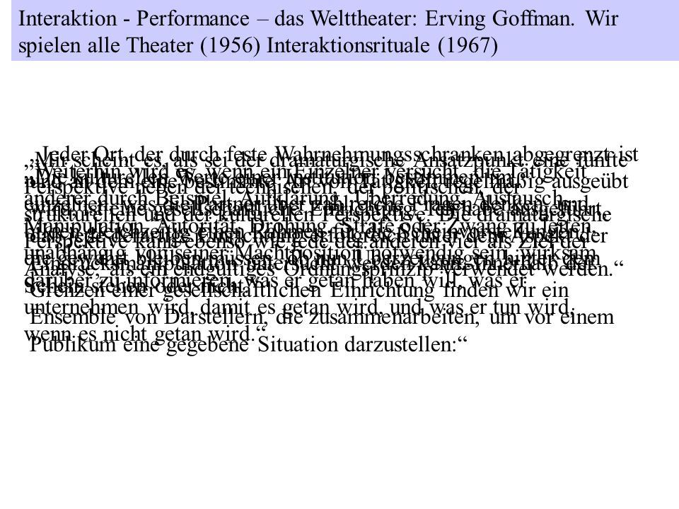 Interaktion - Performance – das Welttheater: Erving Goffman