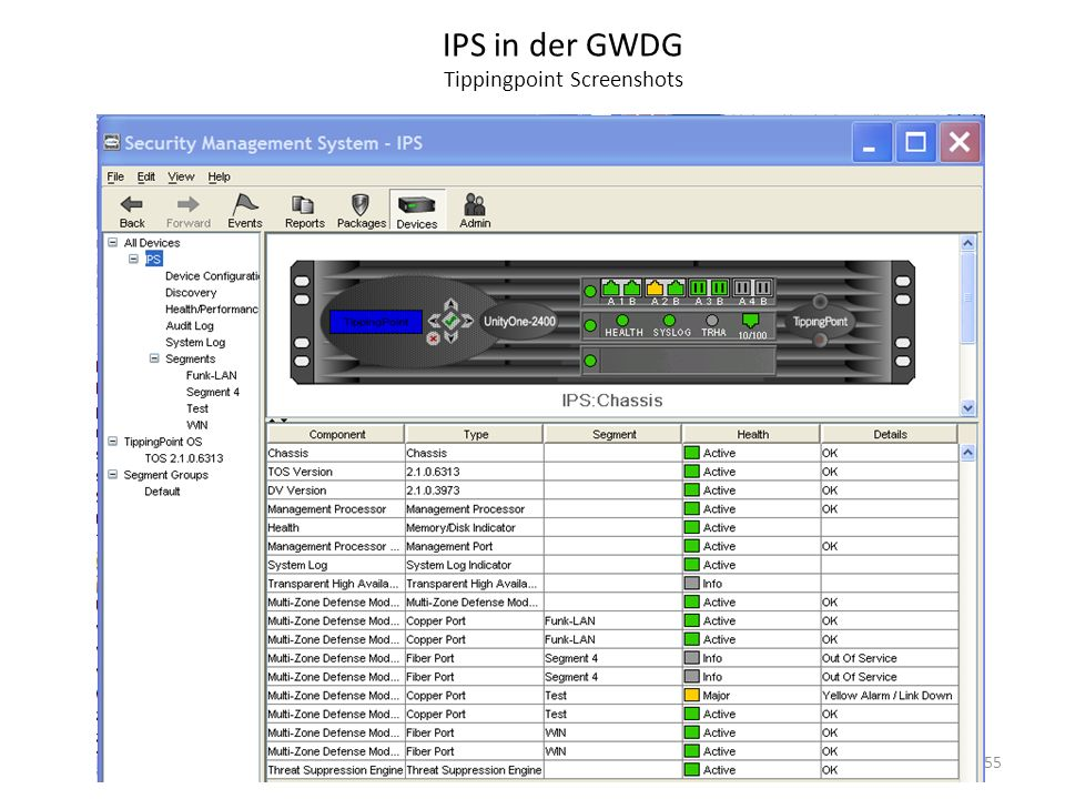 IPS in der GWDG Tippingpoint Screenshots
