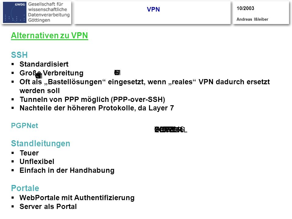 Alternativen zu VPN SSH Standleitungen Portale Standardisiert