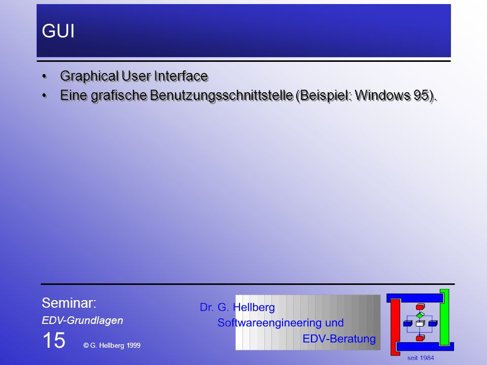 15 © G. Hellberg 1999 GUI Graphical User Interface