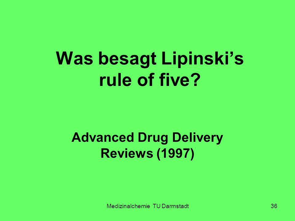 Was besagt Lipinski's rule of five