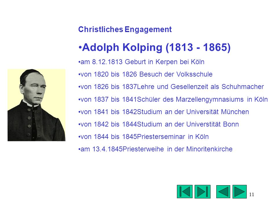 Adolph Kolping (1813 - 1865) Christliches Engagement
