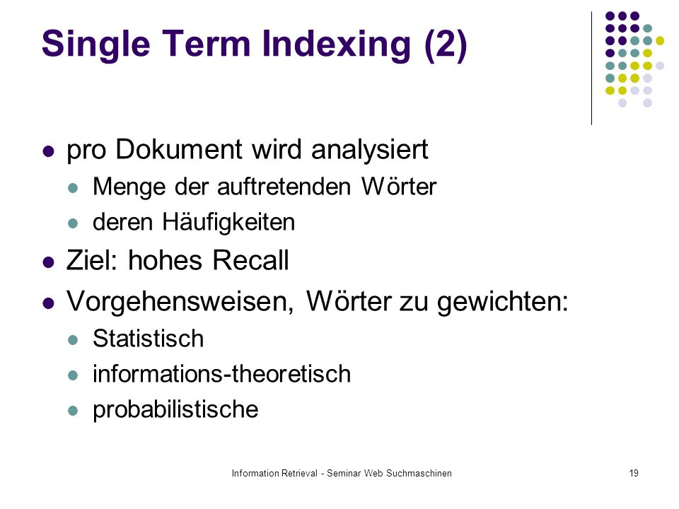 Single Term Indexing (2)
