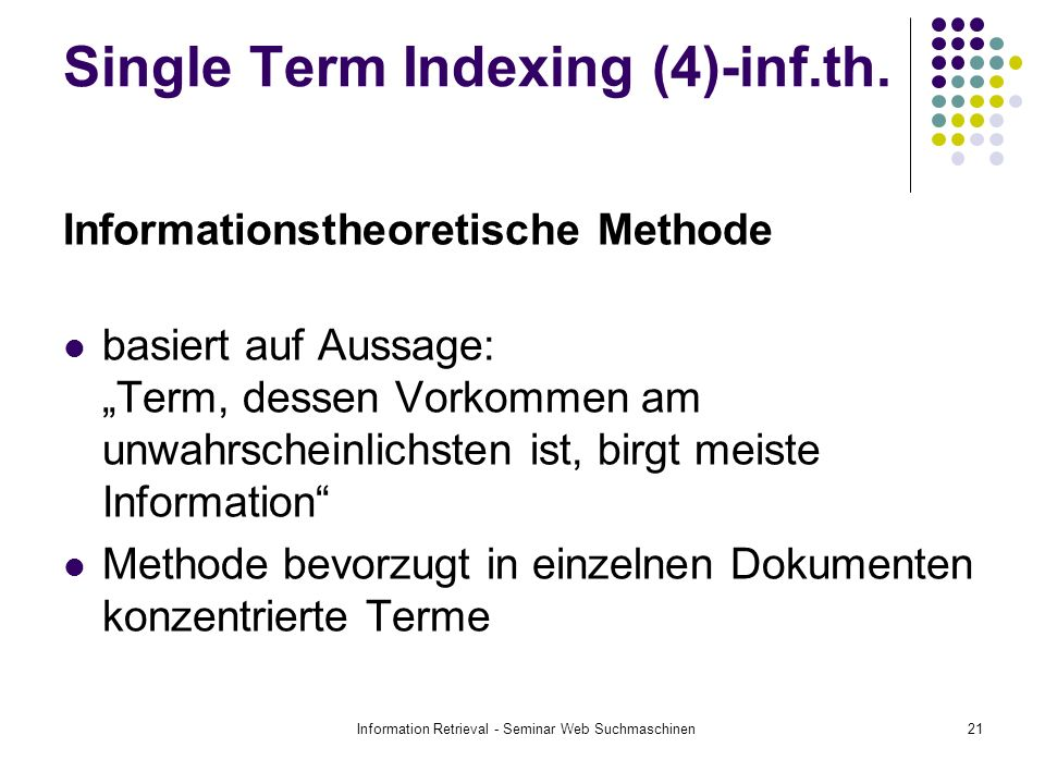 Single Term Indexing (4)-inf.th.