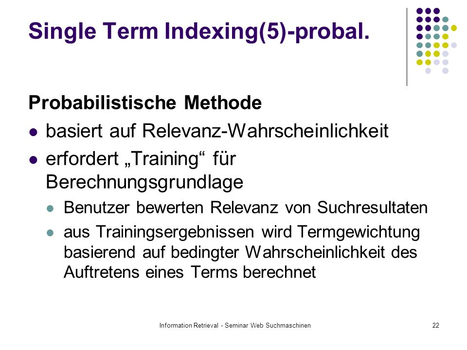 Single Term Indexing(5)-probal.
