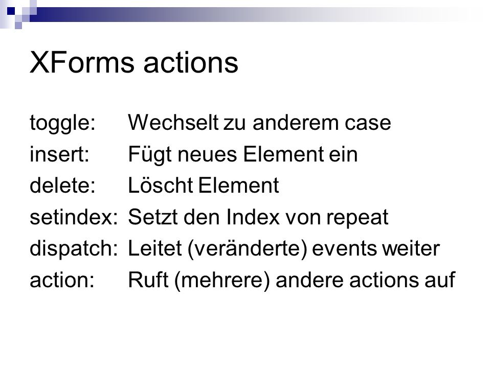 XForms actions toggle: Wechselt zu anderem case