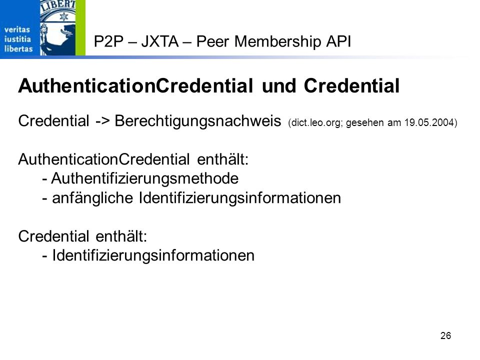 AuthenticationCredential und Credential